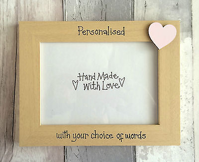 Handcrafted Personalised Wooden Newborn Baby Girl Picture Photo Frame Gift