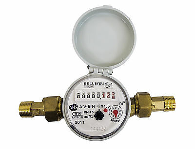 "WRAS approved 15mm 1/2"" Cold Water Meter -Optional Pulse Output"