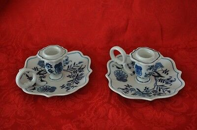 2 Blue Danube JAPAN Candle Holder Excellent CONDITION