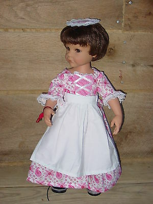 "Handmade American Colonial Girl Outfit Clothing ~Pink Day Dress~ 18"" Doll Set"
