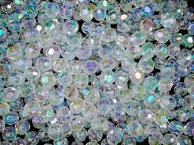 Beads 8mm Faceted Plastic Clear AB 100g Bulk Pack Wedding Craft FREE POSTAGE