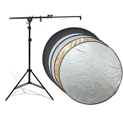 "Photo Studio 32"" 5in1 Collapsable Disc Reflector Light Stand Holding Arm Kit"
