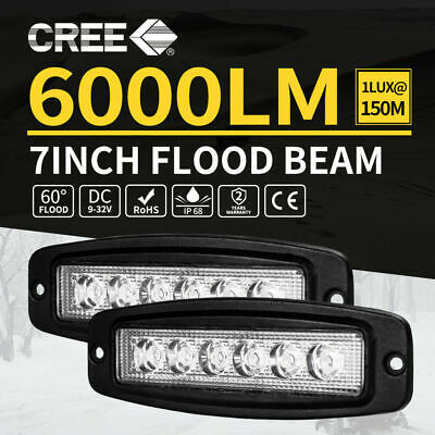 2x 7inch 30W CREE LED Work Driving Light Bar Flood Lamp Flush Mount 4WD Reverse