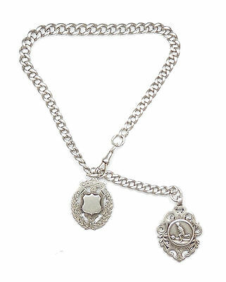 """Antique Victorian Albert Chain And Fob Medal 1900 Sterling Silver 73.5g 15"""""""