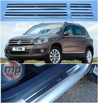 Volkswagen VW Tiguan TDi Polished Steel Kick Plate Car Door Sill Protectors K75x