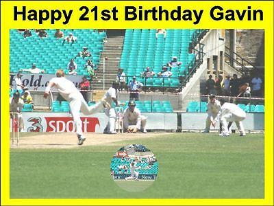 A4 Cricket Birthday Cake Topper Personalised On Edible Rice Paper