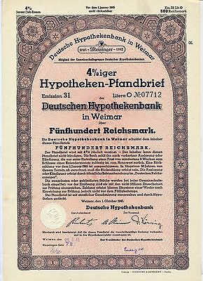 Germany Weimar Deutsche Hypothekenbank Pfandbrief 500 RM 1940 bond