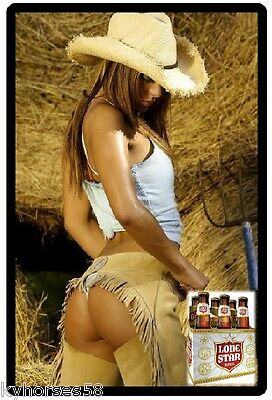 Lonestar Beer Sexy Cowgirl In Chaps Refrigerator Toolbox Magnet