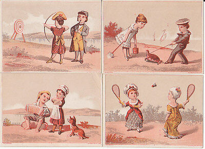 4 different unissued printers stock trade cards, accordion badminton arche [3556