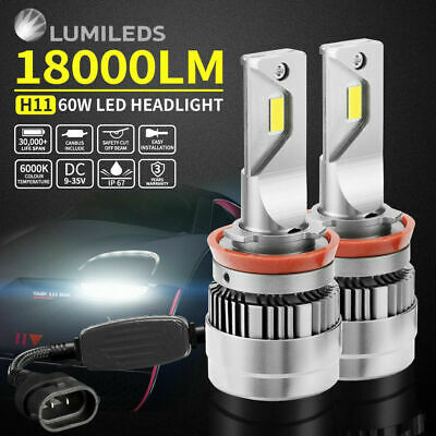 H11 LED Headlight Bulb KIT 108W 10800LM HIGH LOW Beam Replace Halogen Xenon
