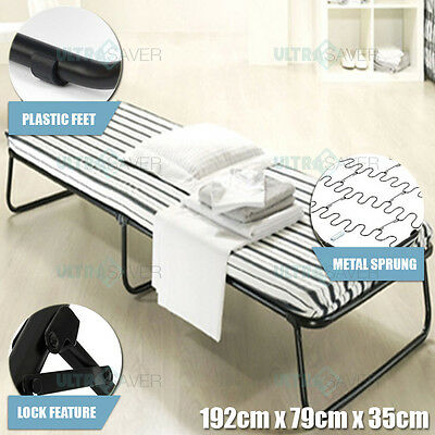 Single Size Portable Deluxe Folding Bed With Mattress Camping Outdoor Indoor