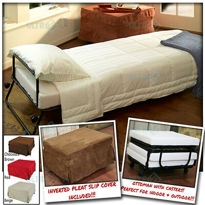 Ottoman Folding Bed Convertible Sofa With Inverted Pleat Slip Cover + Casters