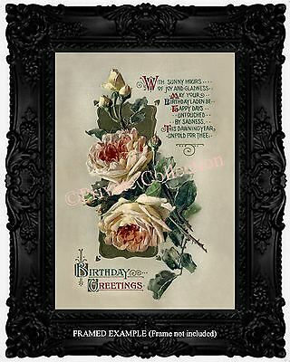 Art Nouveau WHITE ROSES Birthday Poem Calligraphy Victorian Antique ART PRINT