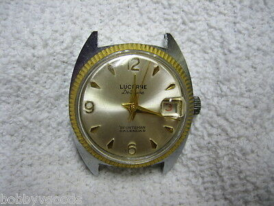 Vintage Lucerne Deluxe Sportsman Calendar Men's Wristwatch Parts / Repair