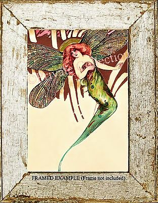 Art Nouveau Victorian Redhead DRAGONFLY FAIRY Evening Gown Glamorous ART PRINT