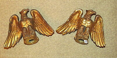 Pair Antique American Eagle Bronze Hardware Finials