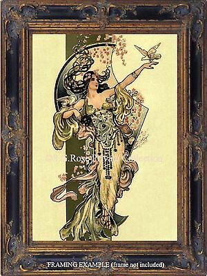 Art Deco Art Nouveau DANCER LADY GODDESS w/ DOVES Antique Vtg. CANVAS ART PRINT