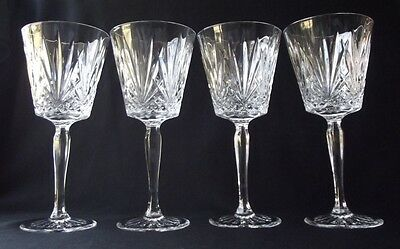 """Set Of 4 D'arques /durand Venice Cut Crystal Water / Wine Goblets 7-1/2"""" T"""