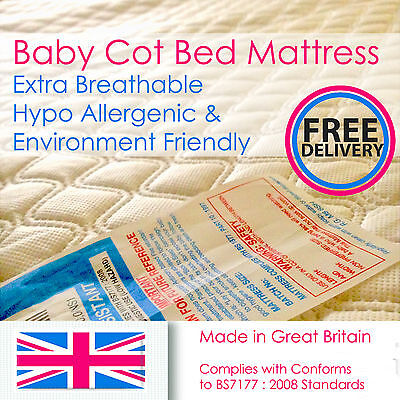 Extra Breathable - Baby Cotbed- Toddler Bed Mattress 5, 7.5, 10, 13 cm Thick
