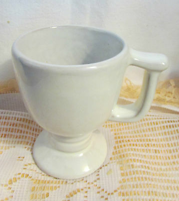 "FRANKOMA POTTERY WHITE SAND C13 FOOTED 4.25"" HIGH MUG CUP"