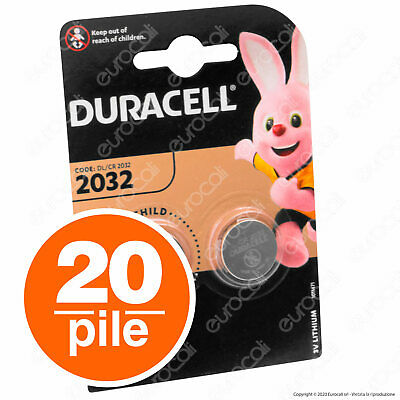 20 PILE DURACELL LITHIUM CR2032 LITIO CR 2032 DL2032 3v