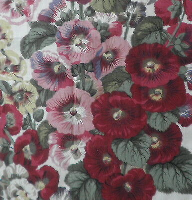 CLARENCE HOUSE Jean Monro Hollyhock floral pink green linen printed new remnant