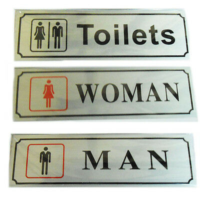 Toilet Door Signs Ladies Gents Sign Plaques Adhesive Bathroom WC Walls Stickers