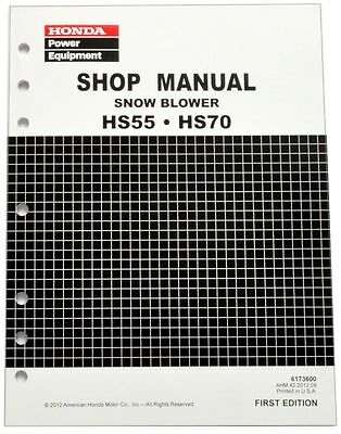Honda HS55 HS70 Snow Blow Service Repair Shop Manual