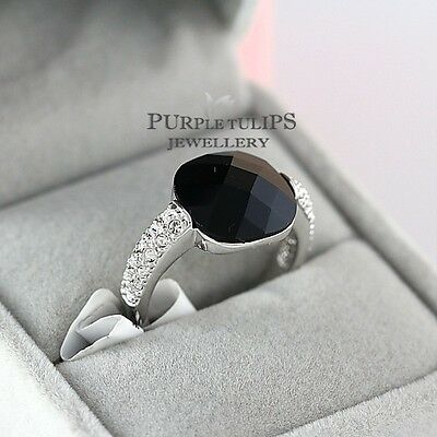 18CT White Gold Plated Black Agade Ring W/ Clear Genuine Swarovski Crystals