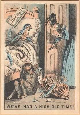 Victorian Trade Card-Union Pacific Tea Co-New York-Parrot & Chimp Wrecking House