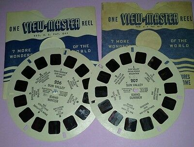 1940s Viewmaster 3D Stereo 206 & 207 2 reels Sun Valley ID summer winter Sawyers