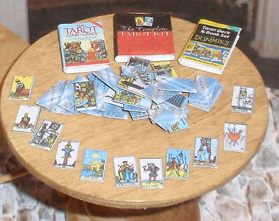 Dollhouse Miniature Halloween Tarot Cards & 3 Books 1:12  One inch scale H32