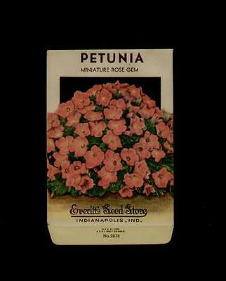1930's PETUNIA ROSE GEM LITHO SEED PACKET- EVERITT'S SEED, INDIANAPOLIS,IND