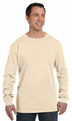 Authentic Pigment Men's 100% Cotton Collar Long Sleeve Crewneck T-Shirt. 1971