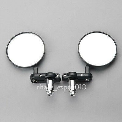 """Motorcycle 3"""" Round Handle Bar End 7/8"""" Mirrors Cafe Racer Bobber Clubman Black"""