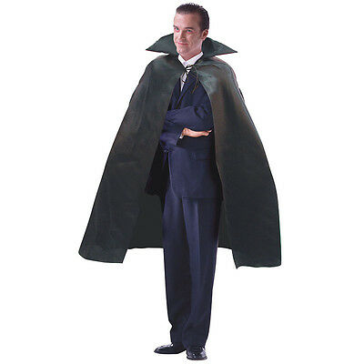 DRACULA HALLOWEEN HORROR VAMPIRE 142cm CAPE BLACK SATIN FANCY DRESS