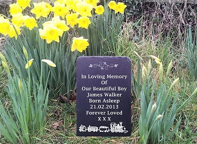 Childs Train Natural Slate Memorial Grave Marker Headstone 4 Sizes Available FS1