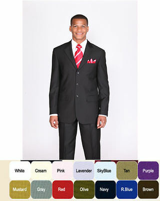 Men's Single Breasted Basic Suit w/Pants come 20 colors 38R-62L by Fortino Landi