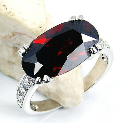 """PASSION'S FLAME"" GARNET, WHITE TOPAZ & .925 SILVER RING SIZE 5 3/4; GIFT Q275"
