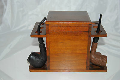 Vintage 50's Solid Walnut 6 pipe stand w/ Cedar lined Humidor + 2 free pipes