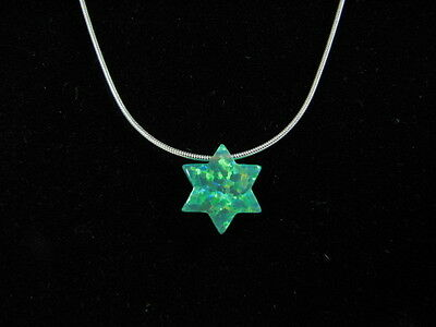 Genuine Green Opal Star of David Charm Necklace on Sterling Silver Chain 925