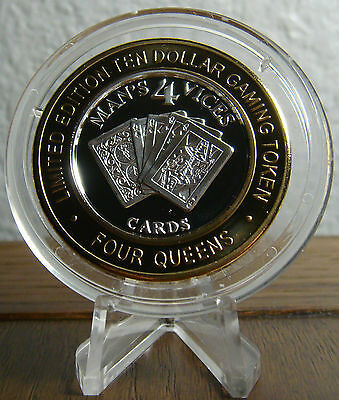 """Four Queens """"Man's 4 Vices"""" CARDS $10 .999 Silver Strike"""