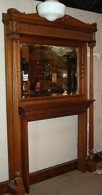 Victorian Era Antique Oak Fireplace Mantel with Mirror Architectural Antique