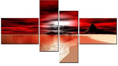 4 Panel Total 98x78cm ART QUALITY Canvas PRINTS DIGITAL ART CALE RED Red