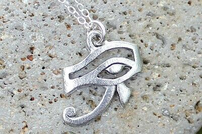 Eye of Horus Necklace- Pewter Egyptian Protection Amulet, Sterling Silver Chain