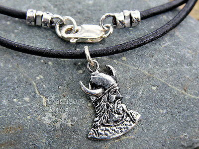 Viking Warrior Black Leather Necklace - Awesome Norse head with helmet - Unisex
