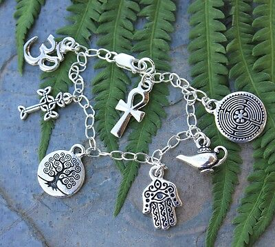 Ancient Religions silver bracelet- tree of life, hamsa, cross, om, ankh, celtic