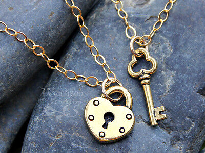 Key to my heart gold couples necklace set- 2 necklaces w/ 14k gold filled chains