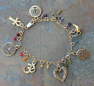 Ancient Religions Coexist Gold Bracelet with Chakra Colored Swarovski Crystals