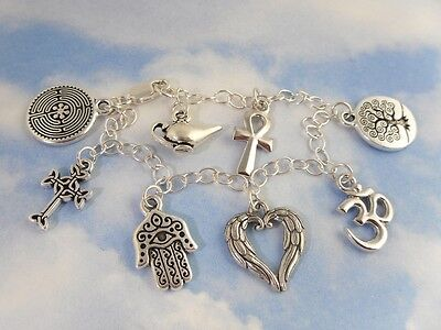 Ancient Religions Coexist Silver Charm Bracelet- angel, om, tree of life, cross